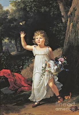 Little Girls In Garden Painting - Portrait Of Edgar Clarke by MotionAge Designs
