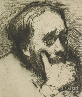 Portrait Of Edgar Degas Art Print by Marcellin Gilbert Desboutin