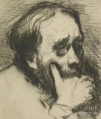 Hatching Wall Art - Drawing - Portrait Of Edgar Degas by Marcellin Gilbert Desboutin