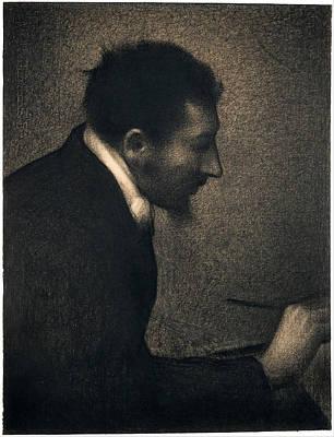 Aman-jean Drawing - Portrait Of Edmond Francois Aman-jean by Georges Seurat