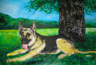 Police Dog Painting - Portrait Of Edy by Seth Weaver