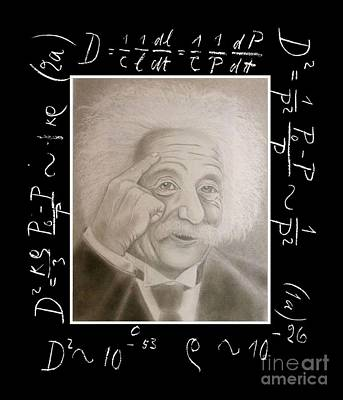 Einstein Drawing - Portrait Of Einstein by Oscar Arauz