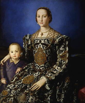 Portrait Of Eleanor Of Toledo With Her Son Giovanni De' Medici  Art Print by Agnolo Bronzino