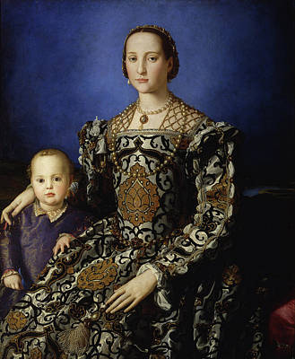 Royalty Painting - Portrait Of Eleanor Of Toledo With Her Son Giovanni De' Medici by Bronzino