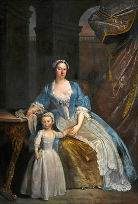 Portrait Of Elizabeth Beckford Full-length Seated In A Loggia With Her Son Peter Art Print by Attributed to William Verelst