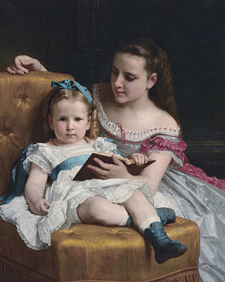 Painting - Portrait Of Eva And Frances Johnston by William-Adolphe Bouguereau