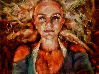Painting - Portrait Of Female With Hair Billowing Everywhere In Radiant Unsmiling Sharp Features Golden Warm Colors And Upturned Nose Curls And Aliens Of The Departure by MendyZ