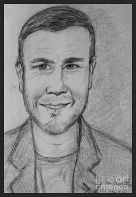 Drawing - Portrait Of Gary Barlow by Joan-Violet Stretch