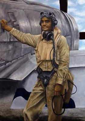 American Airmen Painting - Portrait Of Gen. Benjamin Davis, Jr. by Sylvia Castellanos