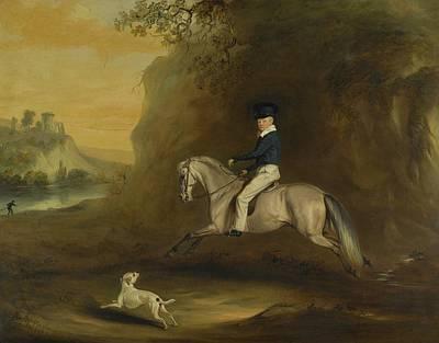 Dog In Landscape Painting - Portrait Of George Augustus Frederick Cavendish by John Ferneley
