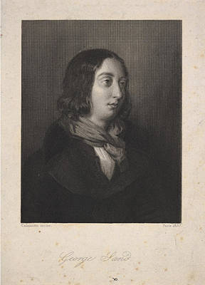 Drawing - Portrait Of George Sand by Luigi Calamatta