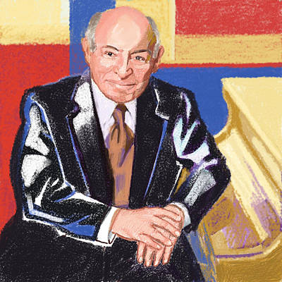 Digital Art - Portrait Of George Wein American Jazz Promoter by Suzanne Cerny