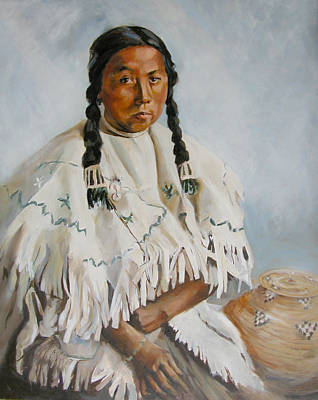 Painting - Portrait Of Girl From Salish Tribe by Synnove Pettersen