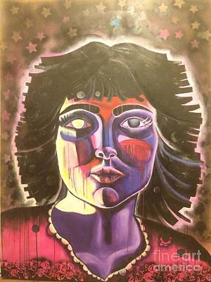 Painting - Portrait Of Girl With Black Hair by Katie McGuire