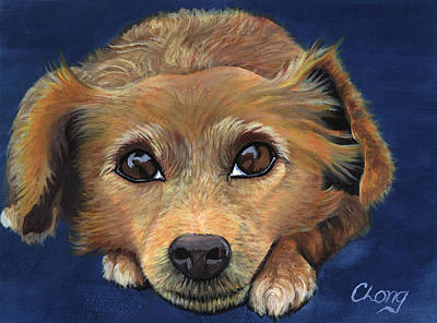 Painting - Portrait Of A Golden Retriever by Long Studios