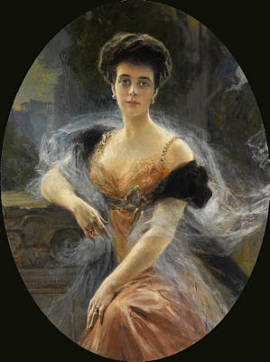 Painting - Portrait Of Grand Duchess Elena Vladimirovna Of Russia by Francois Flameng