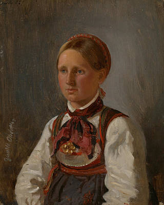 Painting - Portrait Of Gunild Olsdatter From Tinn by Adolph Tidemand