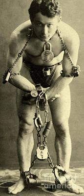 Portrait Of Harry Houdini In Chains, 1900 Art Print