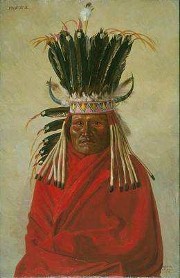 Male Painting - Portrait Of Hawgone - Silver Horn - Kiowa Chief by Celestial Images