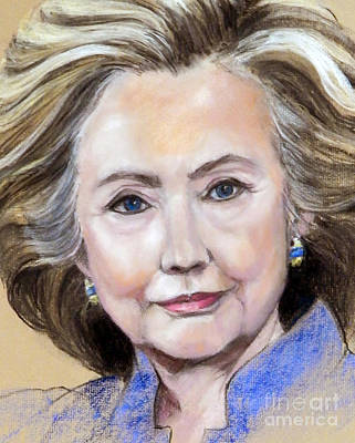 Painting - Pastel Portrait Of Hillary Clinton by Greta Corens