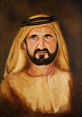 Portrait Of His Highness Sheikh Mohammed Bin Rashid Al Maktoum - Ruler Of Dubai Art Print by Remy Francis