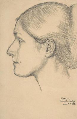 Drawing - Portrait Of Hortense Valpincon by Edgar Degas
