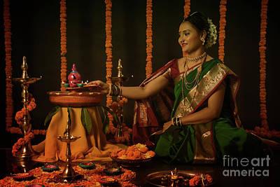 Photograph - Portrait Of Indian Woman Celebrating Diwali Festival by Kiran Joshi