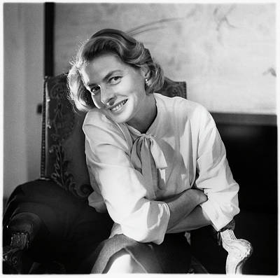 Photograph - Portrait Of Ingrid Bergman Smiling by Horst P Horst