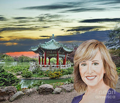 Johnny Carson Mixed Media - Portrait Of Jamie Colby By The Pagoda In Golden Gate Park by Jim Fitzpatrick