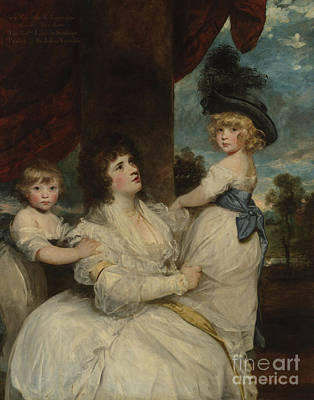 Portrait Of Jane, Countess Of Harrington, With Her Sons, The Viscount Petersham And The Honorable Li Print by Joshua Reynolds