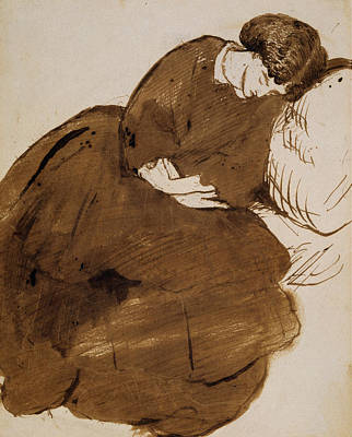 Drawing - Portrait Of Jane Morris Asleep On A Sofa by Dante Gabriel Rossetti
