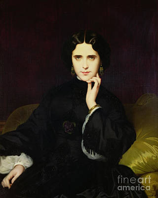 Black Ring Painting - Portrait Of Jeanne De Tourbay by Eugene Emmanuel Amaury-Duval