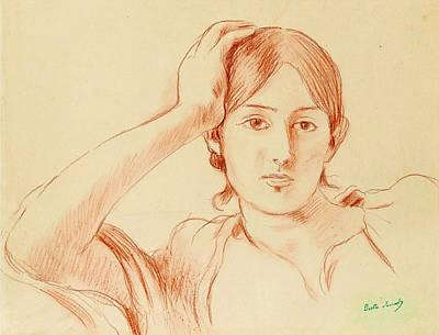 Berthe Drawing - Portrait Of Jeanne Pontillon by Berthe Morisot