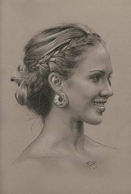 Jessica Alba Wall Art - Painting - Portrait Of Jessica by Brian Duey