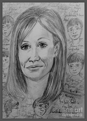 Drawing - Portrait Of J K Rowling 3 by Joan-Violet Stretch