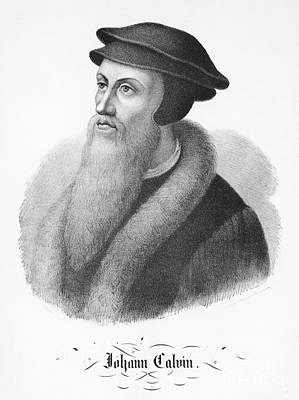 French Leaders Drawing - Portrait Of John Calvin by FC Wentzel