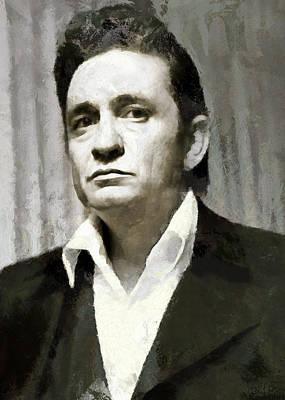Digital Art - Portrait Of Johnny Cash by Charmaine Zoe