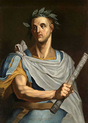 Painting - Portrait Of Julius Caesar Half Length Wearing A Laurel Wreath And Holding A Baton by Follower of Bernardino Campi