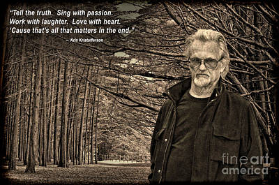 Photograph - Portrait Of Kris Kristofferson In A Wooded Bluff IIi by Jim Fitzpatrick