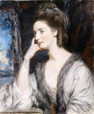 Daniel Gardner Drawing - Portrait Of Lady Watkin Williams-wynn Half-length In A White Dress by Daniel Gardner