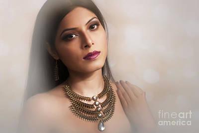 Photograph - Portrait Of Lady With Jewelry by Kiran Joshi
