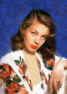 Digital Art - Portrait Of Lauren Bacall by Charmaine Zoe