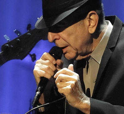 Portrait Of Leonard Cohen In Concert Art Print by John C Bourne