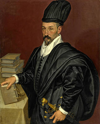 Painting - Portrait Of Lope Varona Di Villanahue Of Burgos Half Length With A Book In His Right Hand by Bartolomeo Passerotti