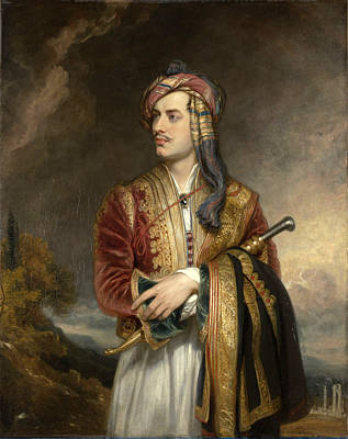 Byron Painting - Portrait Of Lord Byron In Arnaout Dress by Thomas Phillips