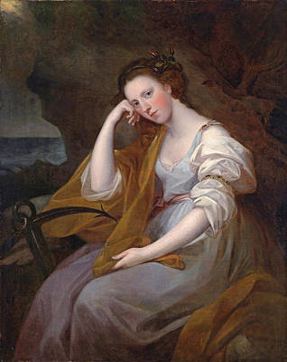 Louisa Painting - Portrait Of Louisa Leveson Gower As Spes by Attributed to Angelica Kauffman