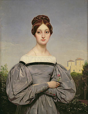 Grey Dress Painting - Portrait Of Louise Vernet by Emile Jean Horace Vernet