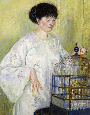 Parakeet Painting - Portrait Of Madame Frieseke by Frederick Carl Frieseke