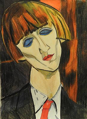 Mixed Media - Portrait Of Madame Kisling After Amadeo Modigliani by Betty-Anne McDonald