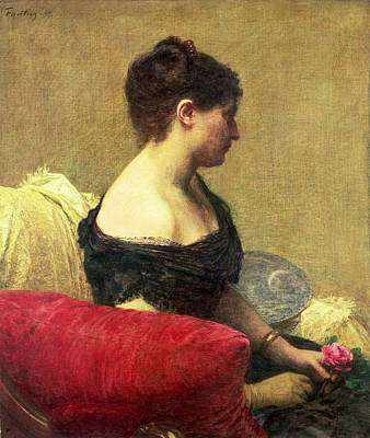 Strapless Painting - Portrait Of Madame Maitre by Ignace Henri Jean Fantin Latour